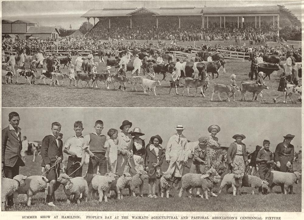 SUMMER SHOW AT HAMILTON: PEOPLE'S DAY AT THE WAIKATO AGRICULTURAL AND PASTORAL ASSOCIATION'S CENTENNIAL FIXTURE.