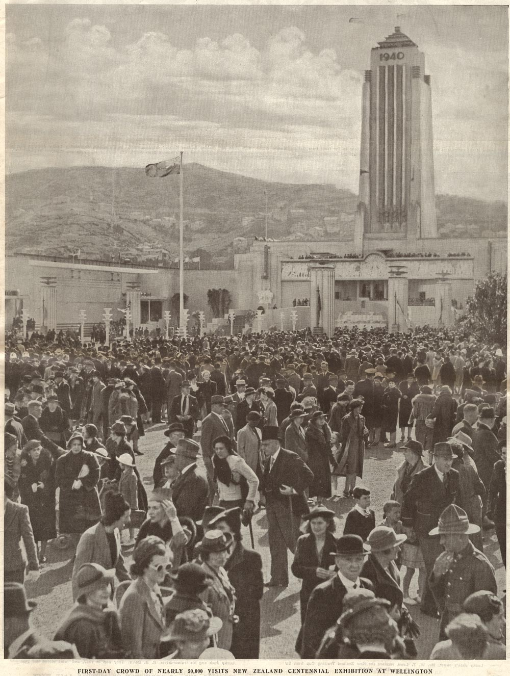 FIRST-DAY CROWD OF NEARLY 50,000 VISITS NEW ZEALAND CENTENNIAL EXHIBITION AT WELLINGTON.