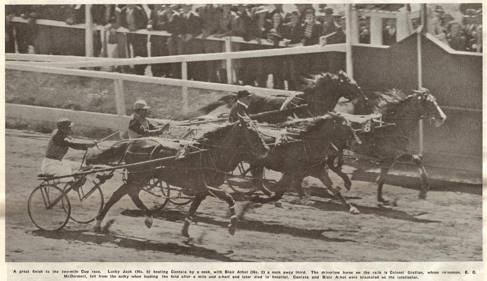 A great finish to the two-mile Cup race. Lucky Jack (No. 8) beating Cantata by a neck, with Blair Athol (No. 2) a neck away third. The driverless horse on the rails is Control Grattan, whose reinsman, E. C. McDermott, fell from the sulky when leading the field after a mile and a-half and later died in hospital. Cantata and Blair Athol were bracketed on the totalisator..