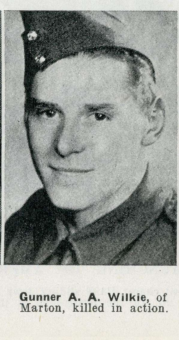 Gunner A. A. Wilkie, of Marton, killed in action..