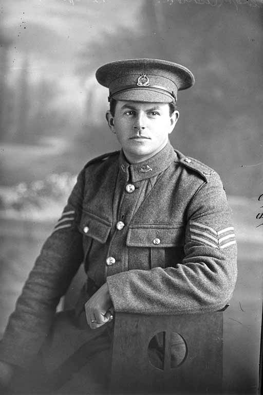 3/4 portrait of Sergeant Ashton, probably Sergeant Norman Ashton, Reg No 24323, of the 17th Reinforcements, Auckland Infantry Regiment, J Company, (Corporal in the Roll of Honour), killed in action in France on 4 October 1917, at the Battle of Passchendaele. - Auckland Libraries
