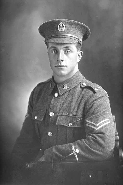 1/2 portrait of Corporal Henry Archibald Basil Cruller, Reg No 31401, of the 19th Reinforcements, J Company. Killed in action in France on 12 October 1917 at the Battle of Passchendaele. - Auckland Libraries