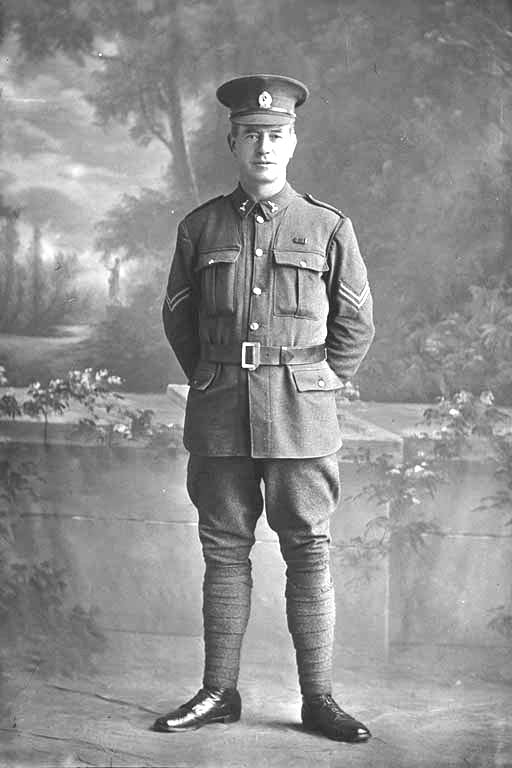 Full length portrait of Corporal Gallagher [David Gallaher] of the 22nd Reinforcements - Auckland Libraries
