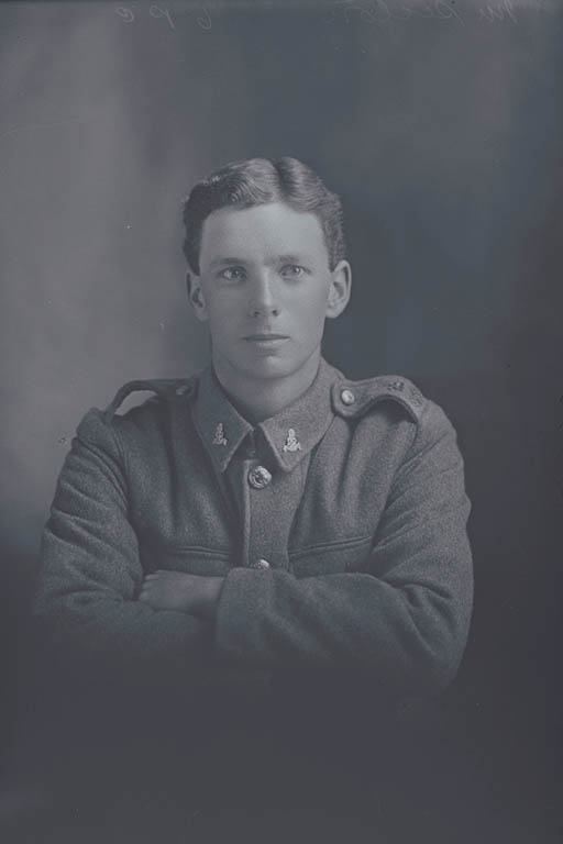 1/4 portrait of Private (Lance Corporal in the Nominal Roll) John Finlay Seaton, Reg No 40647, of the Auckland Infantry Regiment, - A Company, 23rd Reinforcements. Killed in action in France on 4 October 1917 at the Battle of Passchendaele. - Auckland Libraries