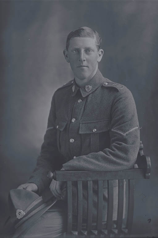 3/4 portrait of Lance Corporal John Alfred Shirtcliffe, Reg No 30870, of the Auckland Infantry Battalion - A Company, 20th Reinforcements. Killed in action in France on 4 October 1917 at the battle of Passchendaele. - Auckland Libraries