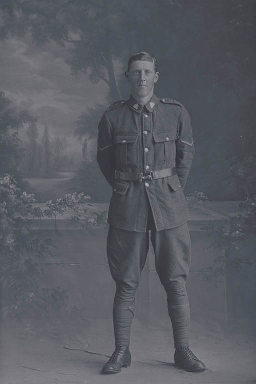 Full length portrait of Lance Corporal John Alfred Shirtcliffe, Reg No 30870, of the Auckland Infantry Battalion - A Company, 20th Reinforcements. Killed in action in France on 4 October 1917 at the battle of Passchendaele. - Auckland Libraries