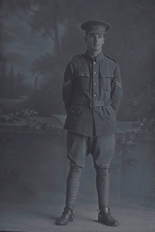 Full length portrait of Corporal Norman Charles White, Reg No 7/2578, of the Canterbury Mounted Rifles, - C Squadron, New Zealand Mounted Rifles. (In the roll of honour a Lance Corporal with the Wellington Infantry Regiment), killed in action in France on 4 October 1917, at the Battle of Passchendaele. - Auckland Libraries