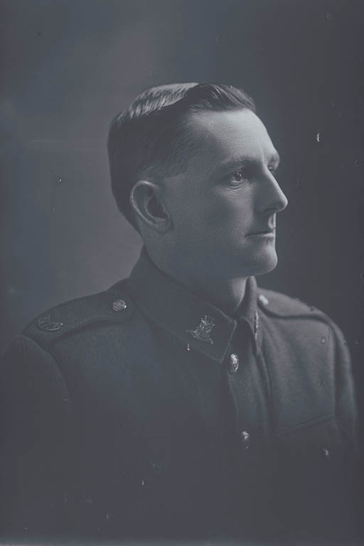 1/4 portrait of Private Garfield Alexander Warin, Reg No 31752, of the Auckland Infantry Battalion, - A Company, 19th Reinforcements. Killed in action in France on 4 October 1917, at the Battle of Passchendaele. - Auckland Libraries