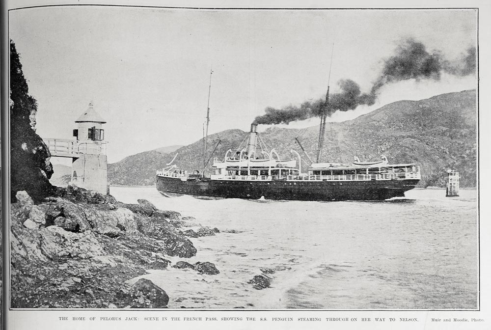 THE HOME OF PELORUS JACK: SCENE IN THE FRENCH PASS, SHOWING THE S.S. PENGUIN STEAMING THROUGH ON HER WAY TO NELSON.