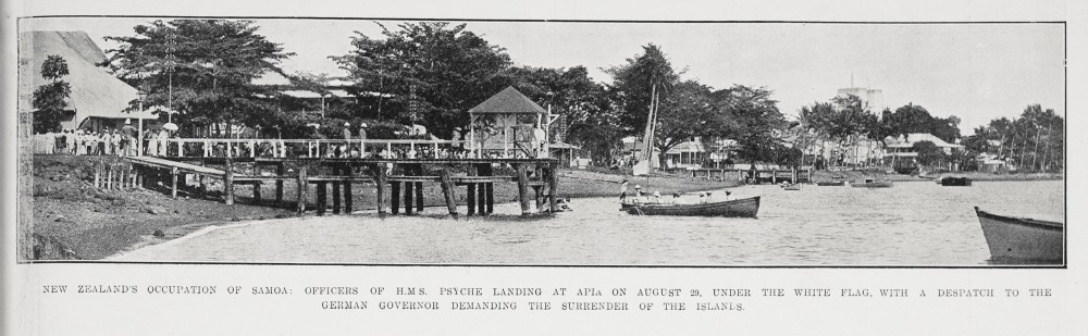 New Zealand's occupation of Samoa: Officers of H M S Psyche landing at Apia on August 29, under the white flag, with a despatch to the German Governor demanding the surrender of the islands. - Auckland Libraries