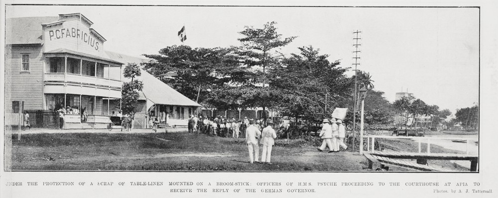 Under the protection of a scrap of table-linen mounted on a broomstick: Officers of H M S Psyche proceeding to the courthouse at Apia to receive the reply of the German Governor. - Auckland Libraries
