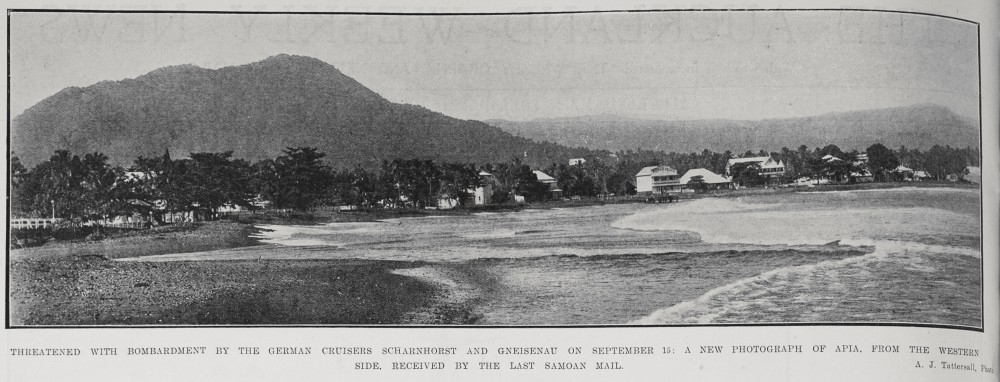 Threatened with bombardment by the German cruisers Scharnhorst and Gneisenau on September 15: A new photograph of Apia, from the western side, received by the last Samoan mail. - Auckland Libraries