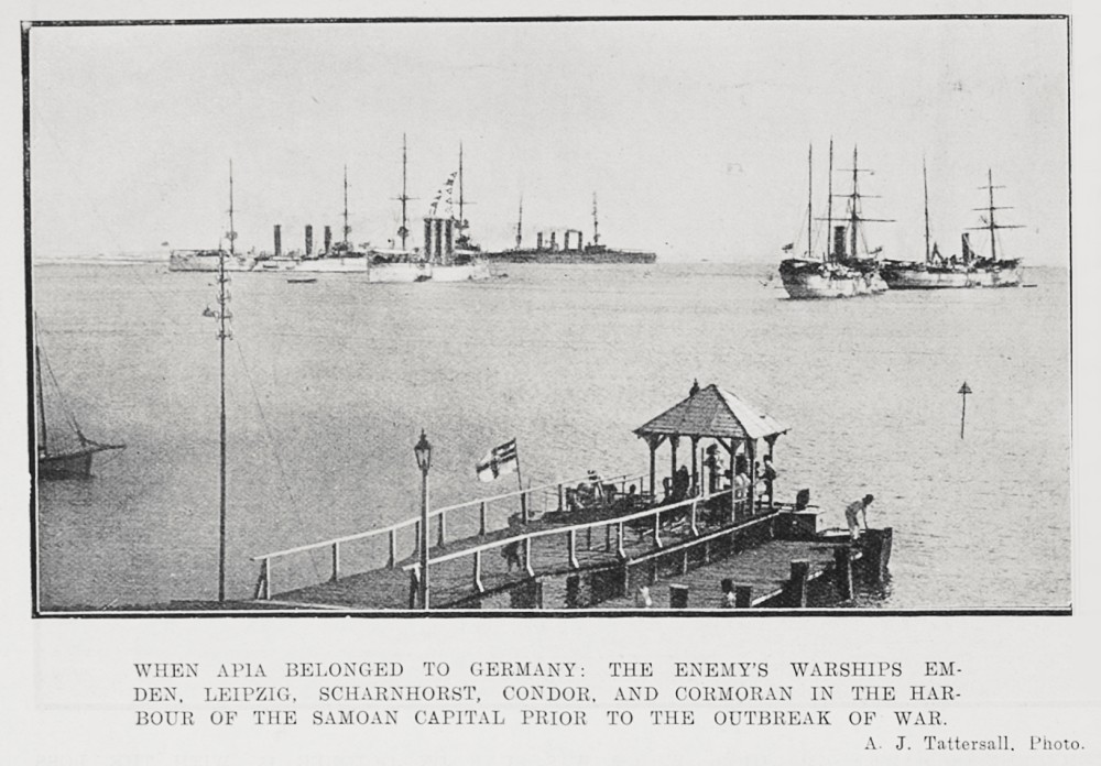 When Apia belonged to Germany: The enemy's warships Emden, Leipzig, Scharnhorst, Condor, and the Cormoran in the harbour of the Samoan capital prior to the outbreak of war. - Auckland Libraries
