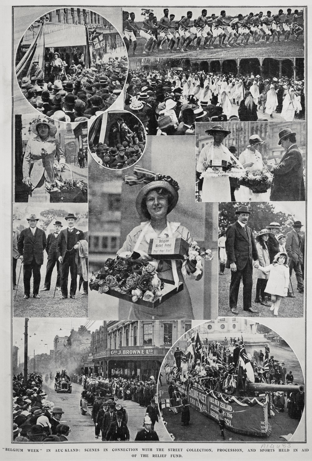 """Belgium week"" in Auckland: Scenes in connection with the street collection, procession, and sports held in aid of the relief fund. - Auckland Libraries"
