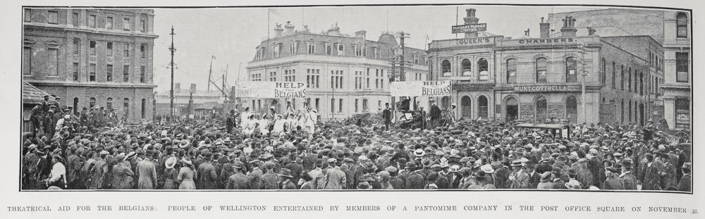 Theatrical aid for the Belgians: People of Wellington entertained by members of a pantomime company in the Post Office Square on November 25. - Auckland Libraries