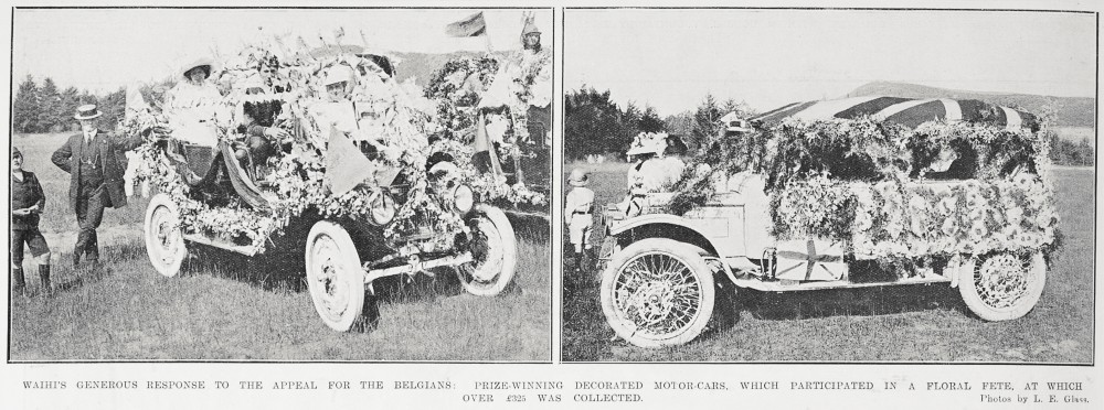 Waihi's generous response to the appeal for the Belgians: Prize-winning decorated motor-cars, which participated in a floral fete, at which over £325 was collected. - Auckland Libraries