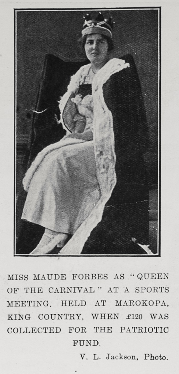 "Miss Maude Forbes as ""Queen of the carnival"" at a sports meeting, held at Marokopa, King Country, when £120 was collected for the patriotic fund. - Auckland Libraries"