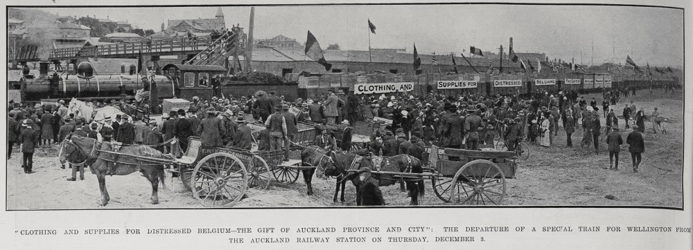 """Clothing and supplies for distressed Belgium - the gift of Auckland Province and city"": The departure of a special train for Wellington from the Auckland Railway Station on Thursday, December 3. - Auckland Libraries"