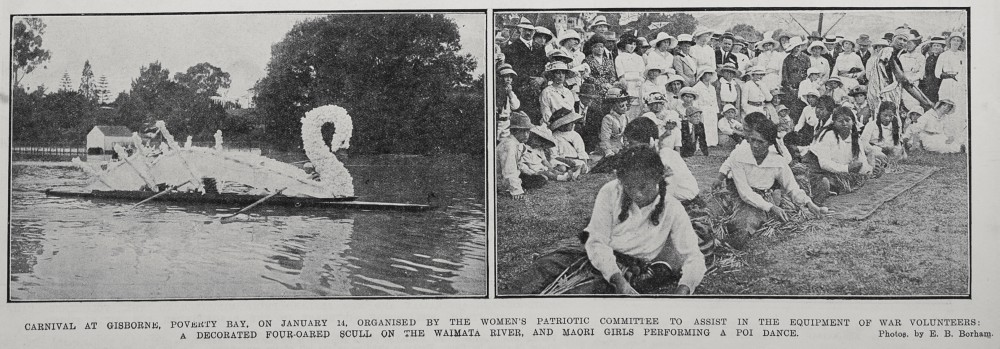 Carnival at Gisborne, Poverty Bay, on January 14, organised by the Women's Patriotic Committee to assist in the equipment of war volunteers: a decorated four-oared scull on the Waimata river, and Maori girls performing a poi dance. - Auckland Libraries