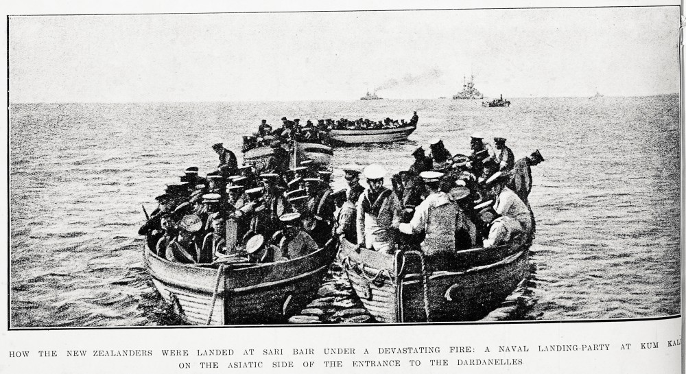 How the New Zealanders were landed at Sari Bair under a devasting fire: a naval landing- party at Kum Kale on the Asiatic side of the entrance to the Dardanelles. - Auckland Libraries