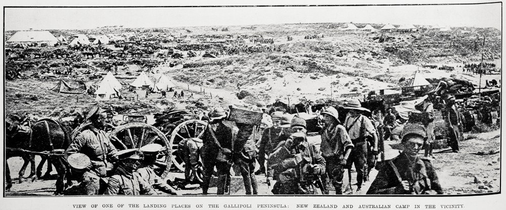 View of one of the landing places on Gallipoli Peninsula: New Zealand and Australian camp in the vicinity. - Auckland Libraries