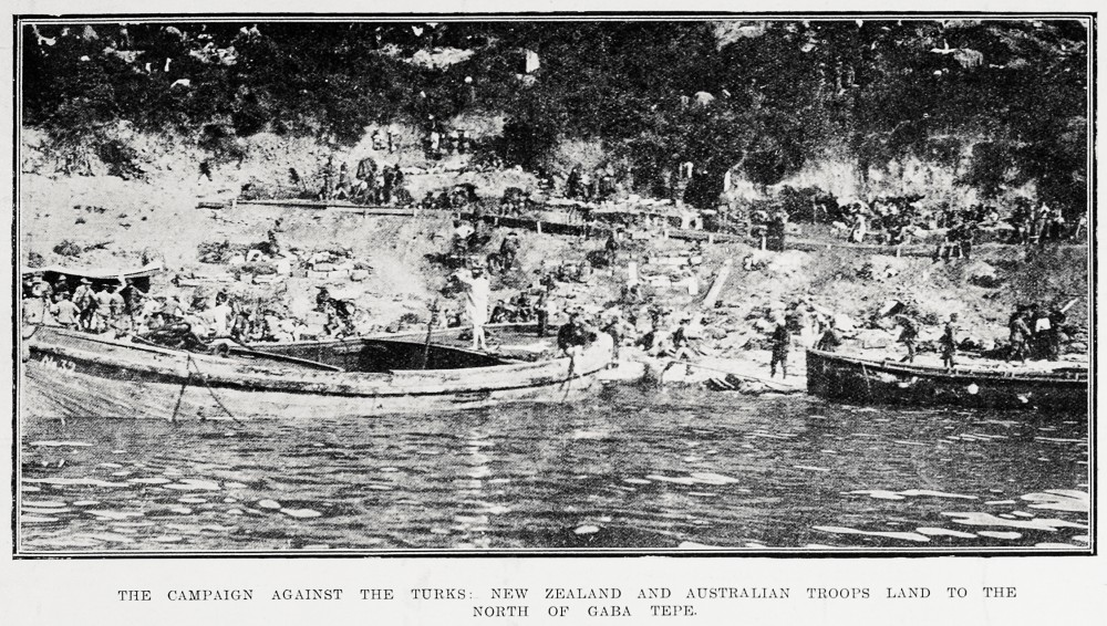 The campaign against the Turks: New Zealand and Australian troops land to the north of Gaba Tepe. - Auckland Libraries