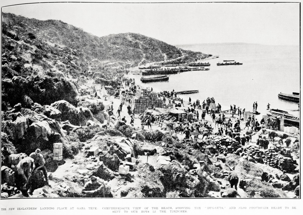 The New Zealanders' landing place at Gaba Tepe: comprehensive view of the beach, showing the 'dug-outs' and also provisions ready to be sent to our boys in the trenches. - Auckland Libraries