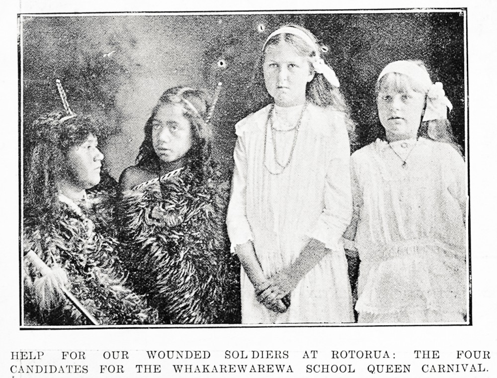 Help for our wounded soldiers at Rotorua: the four candidates for the Whakarewarewa School Queen Carnival. - Auckland Libraries