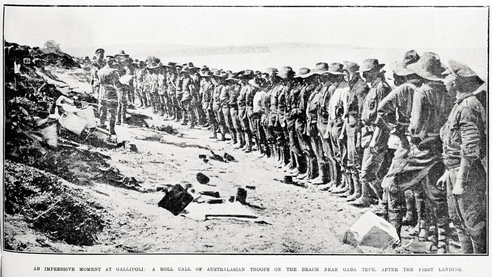 An impressive moment at Gallipoli: a roll call of Australasian troops on the beach near Gaba Tepe, after the first landing, - Auckland Libraries