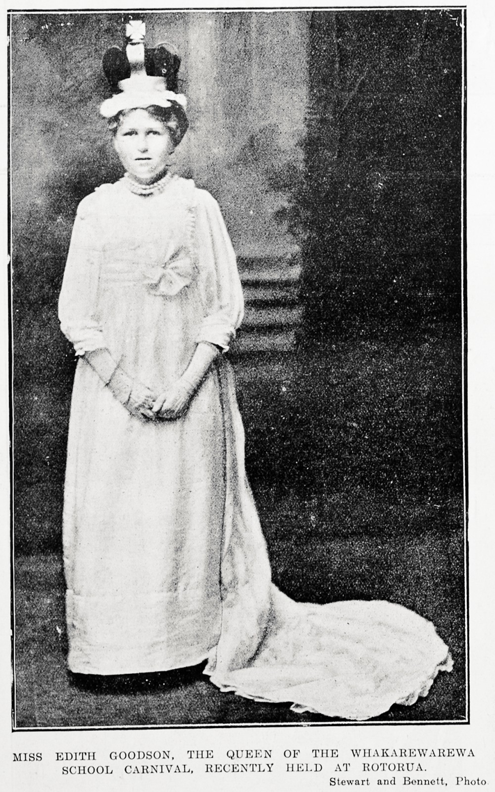 Miss Edith Goodson, the queen of the Whakarewarewa school carnival, recently held at Rotorua. - Auckland Libraries