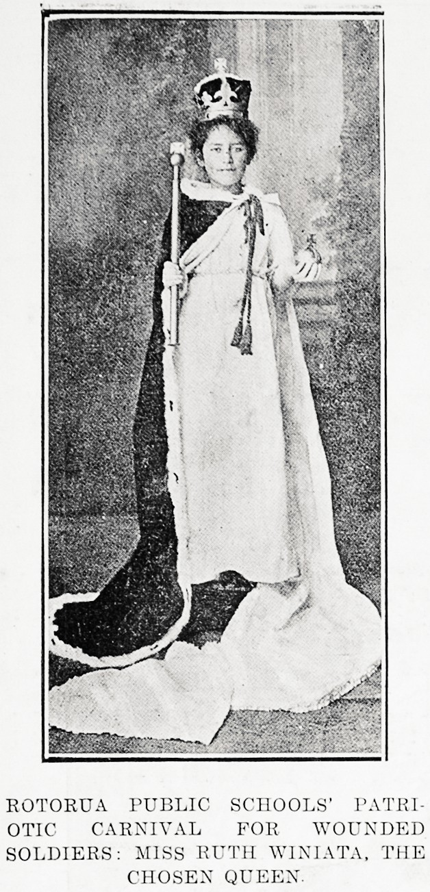 Rotorua public schools' patriotic carnival for wounded soldiers: Miss Ruth Winiata, the chosen queen. - Auckland Libraries