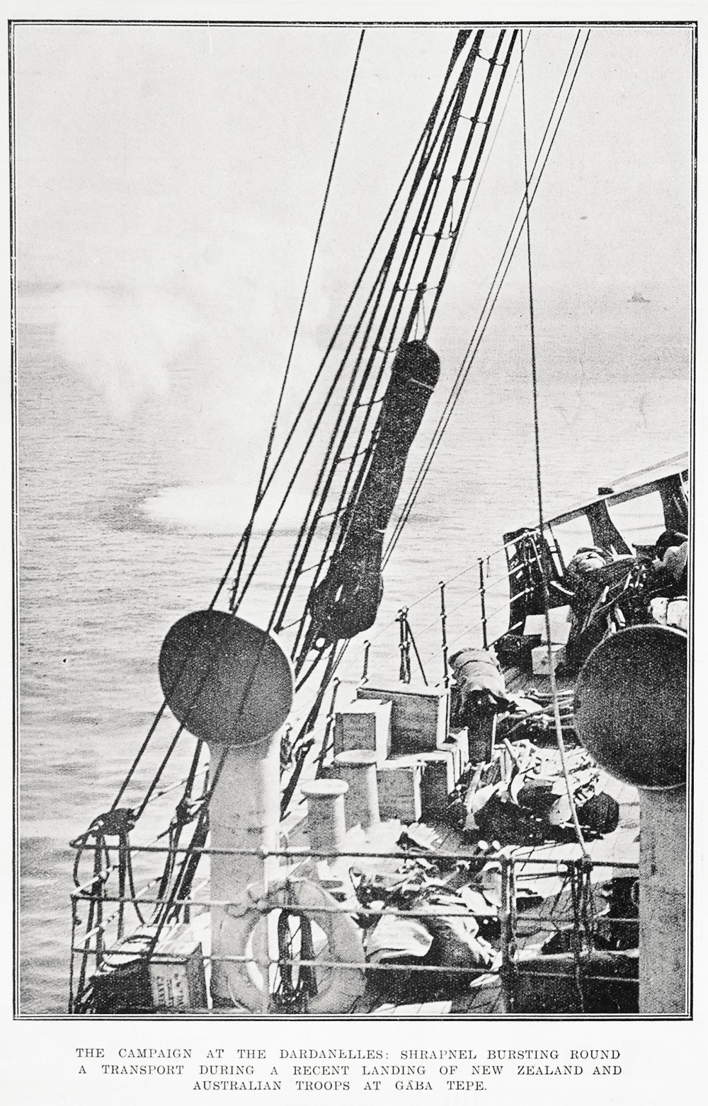 The campaign at the Dardanelles: shrapnel bursting round a transport during a recent landing of New Zealand and Australian troops at Gaba Tepe. - Auckland Libraries