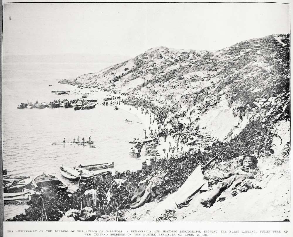 The anniversary of the landing of the Anzacs on Gallipoli: a remarkable and historic photograph, showing the first landing, under fire, of New Zealand soldiers on the hostile peninsula on April 25, 1915. - Auckland Libraries