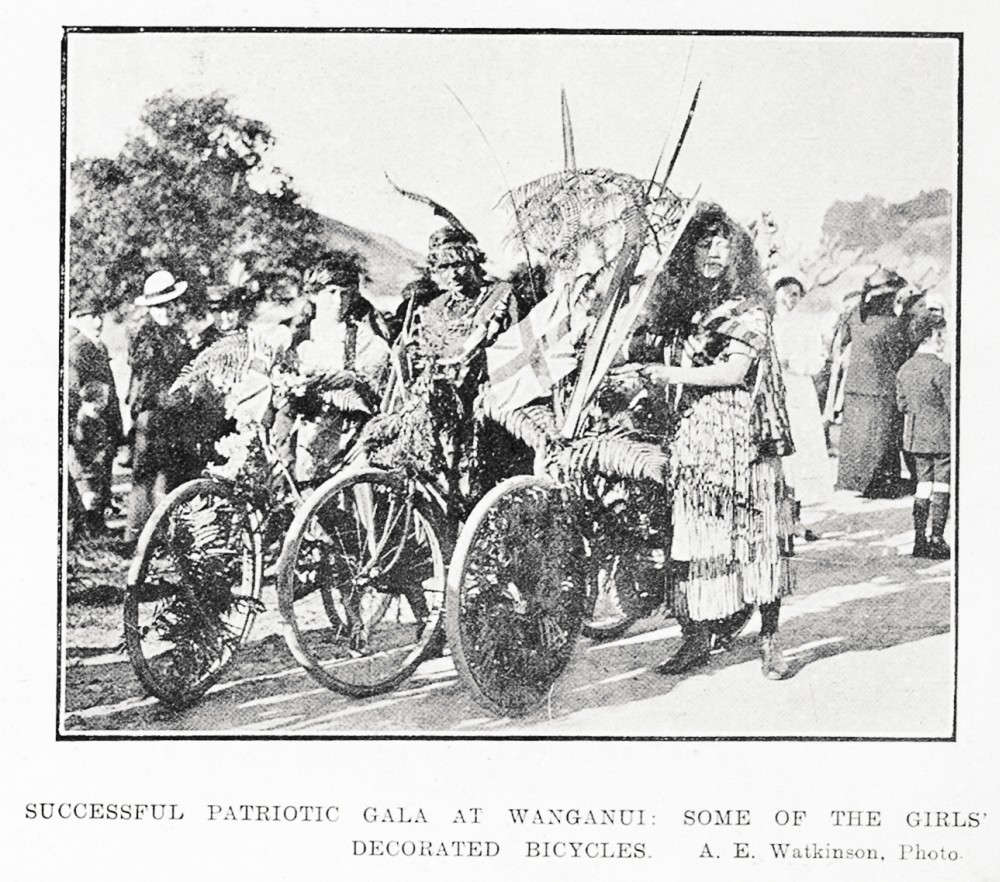 Successful patriotic gala at Wanganui: some of the girls' decorated bicycles. - Auckland Libraries