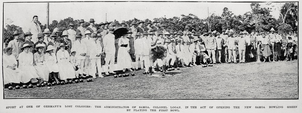 Sport at one of Germany's lost colonies: the Administrator of Samoa, Colonel Logan, in the act of opening the new Samoa bowling green by playing the first bowl. - Auckland Libraries