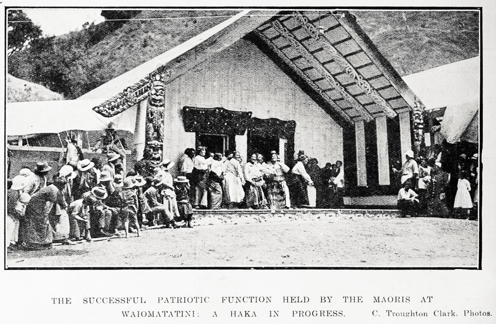 The successful patriotic function held by the Maoris at Waiomatatini: a haka in progress. - Auckland Libraries