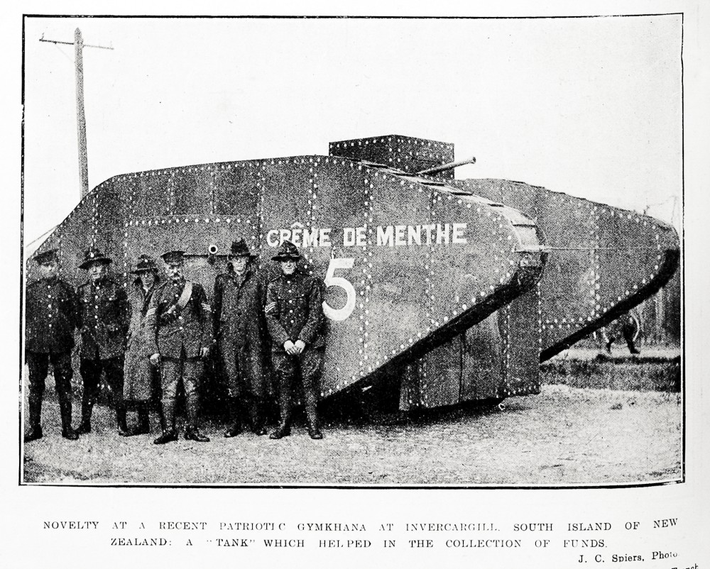 Novelty at a recent patriotic gymkhana at Invercargill, South Island of New Zealand: a 'Tank' which helped in the collection of funds. - Auckland Libraries