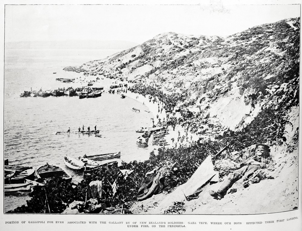 Portion of Gallipoli for ever associated with the gallantry of New Zealand's soldiers: Gaba Tepe, where our boys effected their first landing, under fire, on the peninsula. - Auckland Libraries