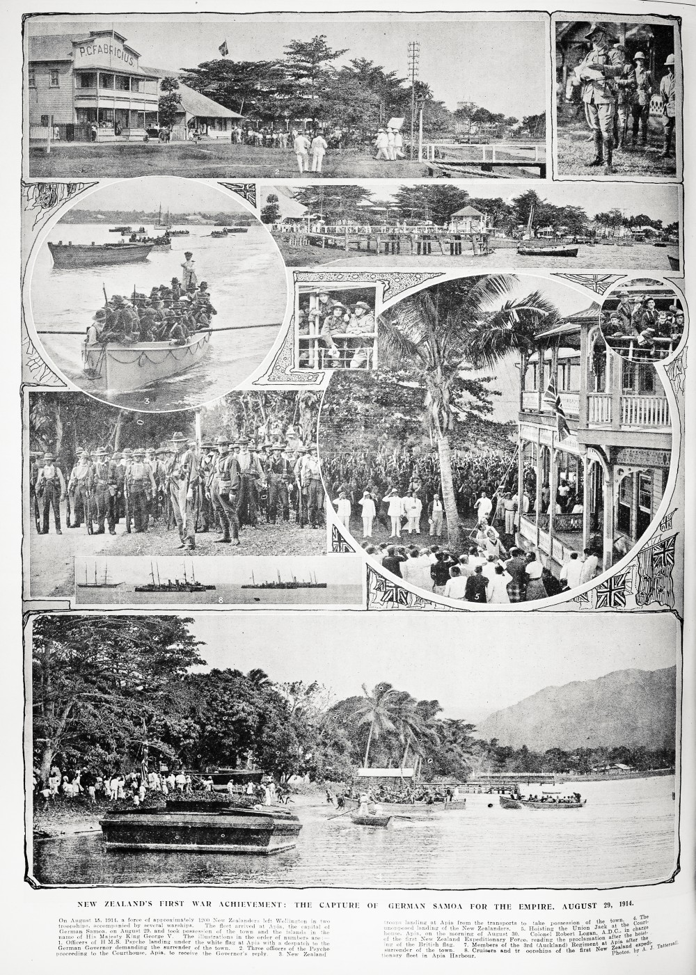 New Zealand's first war achievement: the capture of German Samoa for the Empire, August 29, 1914. - Auckland Libraries