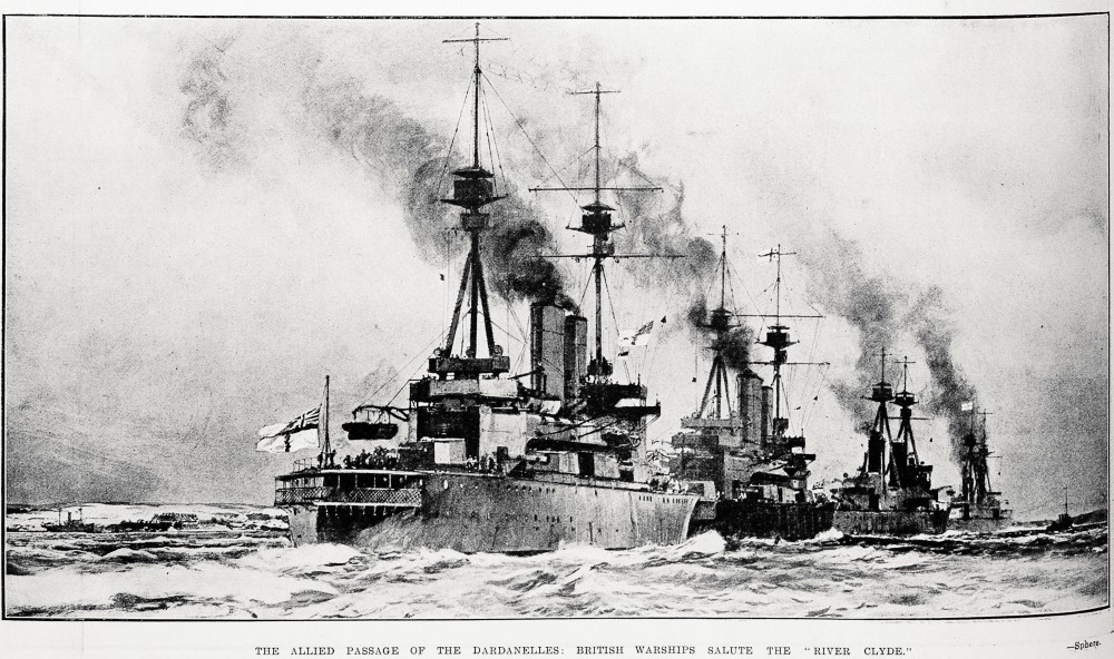 The Allied passage of the Dardanelles: British warships salute the River Clyde. - Auckland Libraries