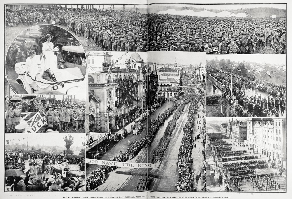 The enthusiastic peace celebrations in Auckland last Saturday: views of the great military and civic pageant which will remain a lasting memory. - Auckland Libraries