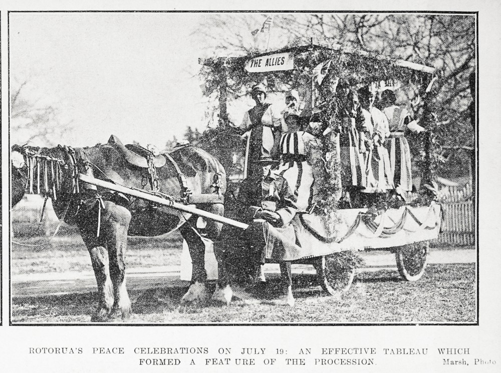 Rotorua's peace celebrations on July 19: an effective tableau which formed a feature of the procession. - Auckland Libraries