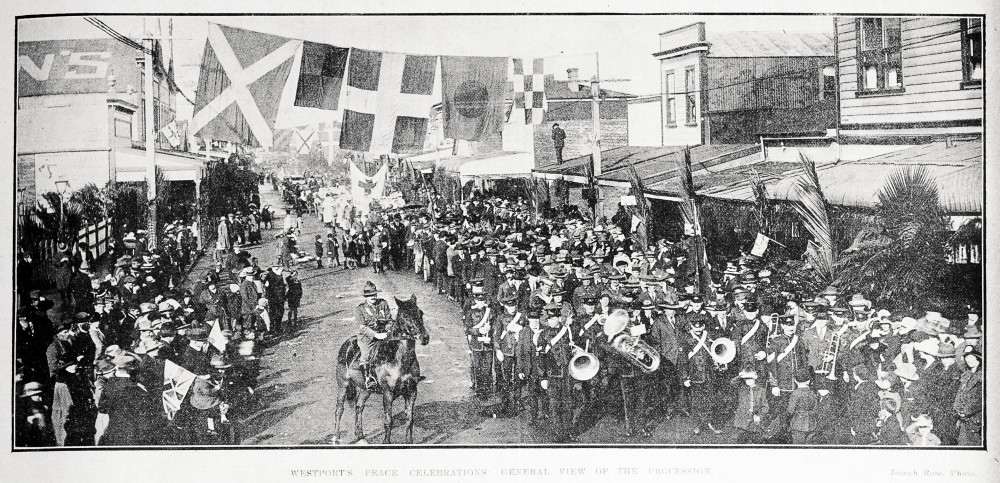 Westport's peace celebrations: general view of the procession. - Auckland Libraries