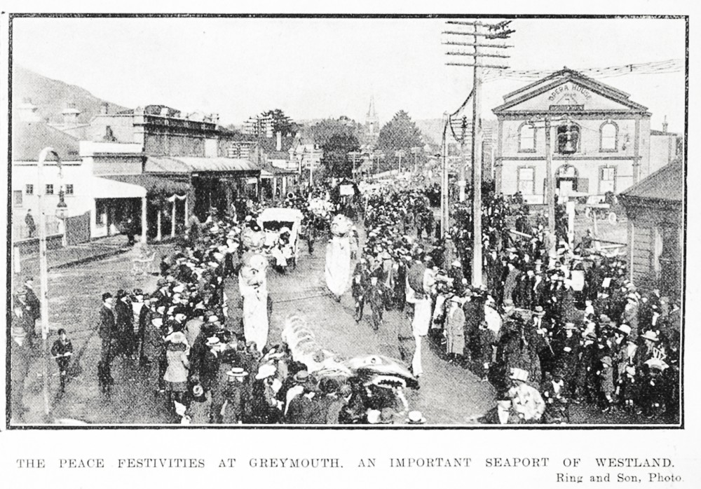 The peace festivities at Greymouth, an important seaport of Westland. - Auckland Libraries