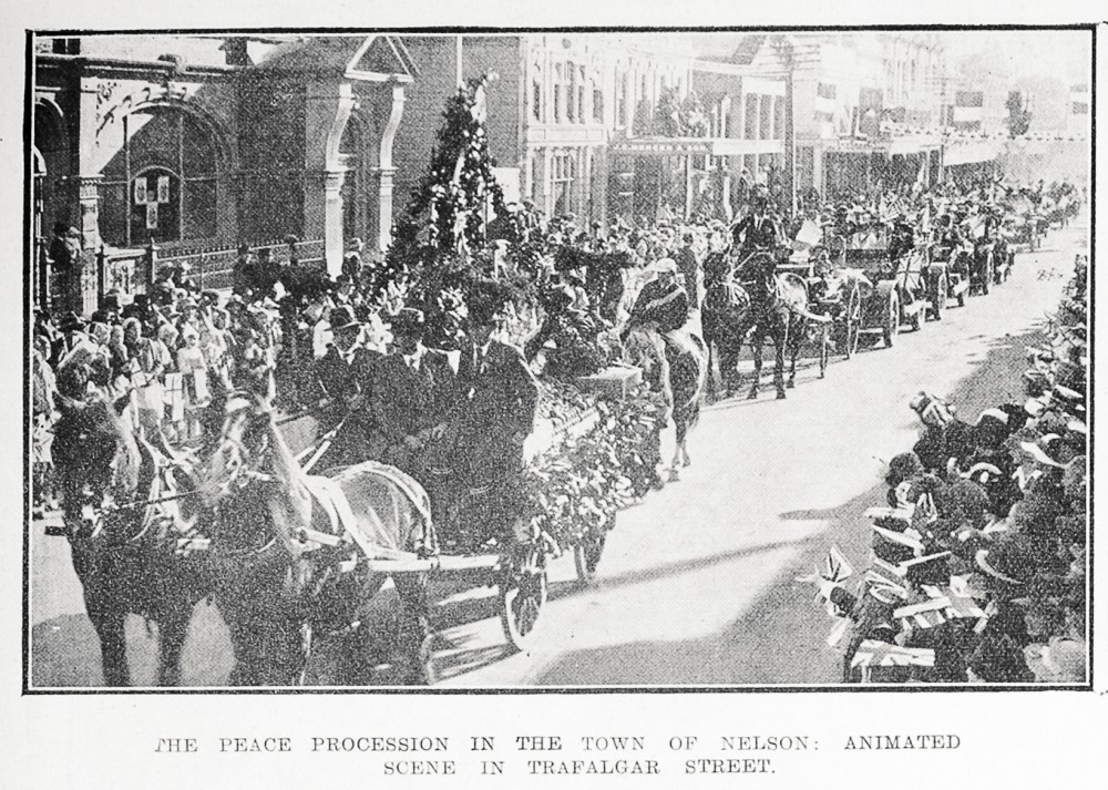 The peace procession in the town of Nelson: animated scene in Trafalgar Street. - Auckland Libraries
