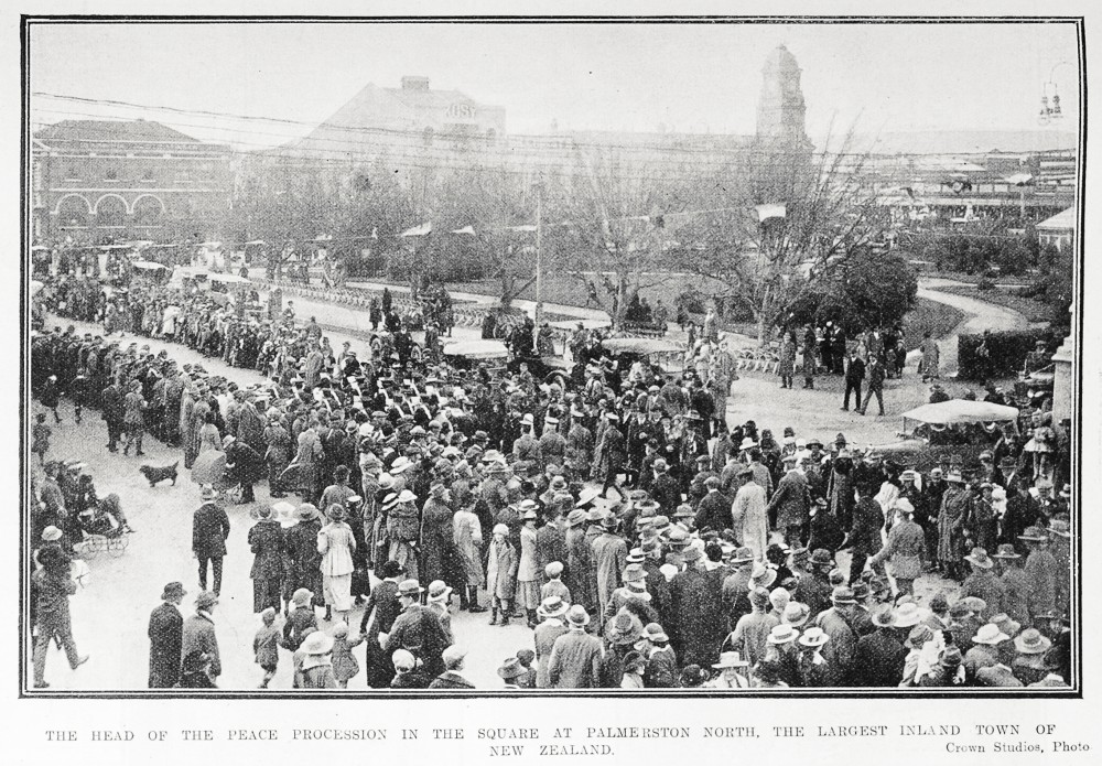 The head of the peace procession in The Square at Palmerston North, the largest inland town of New Zealand. - Auckland Libraries