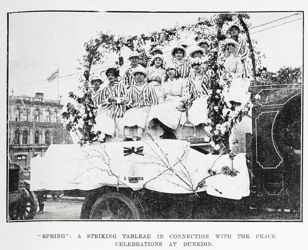 'Spring': a striking tableau in connection with the peace celebrations at Dunedin. - Auckland Libraries