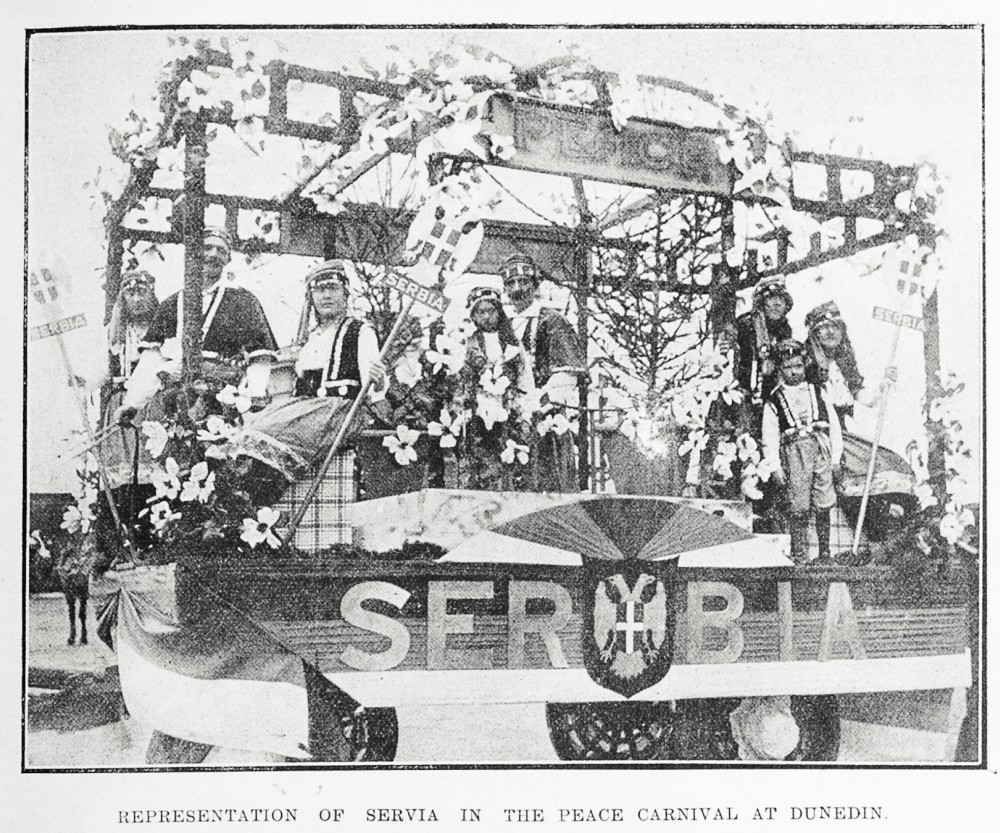 Representation of Servia in the peace carnival at Dunedin. - Auckland Libraries