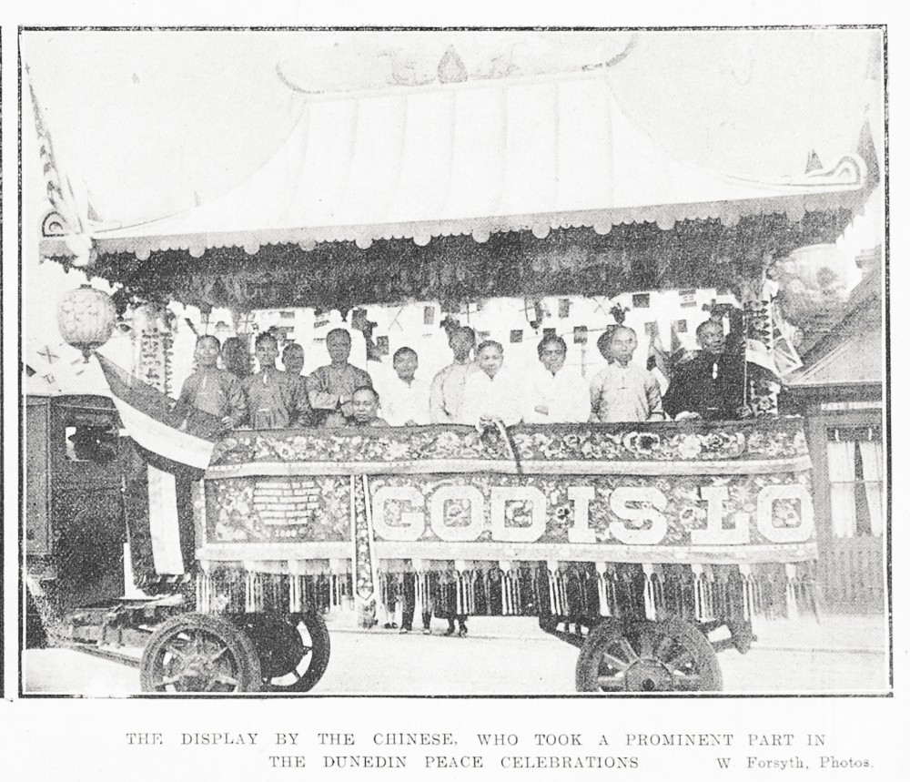 The display by the Chinese, who took a prominent part in the Dunedin peace celebrations. - Auckland Libraries
