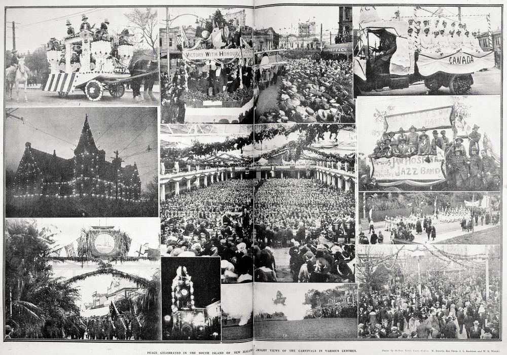 Peace celebrated in the South Island of New Zealand: (B?)right views of the carnivals in various centres. - Auckland Libraries